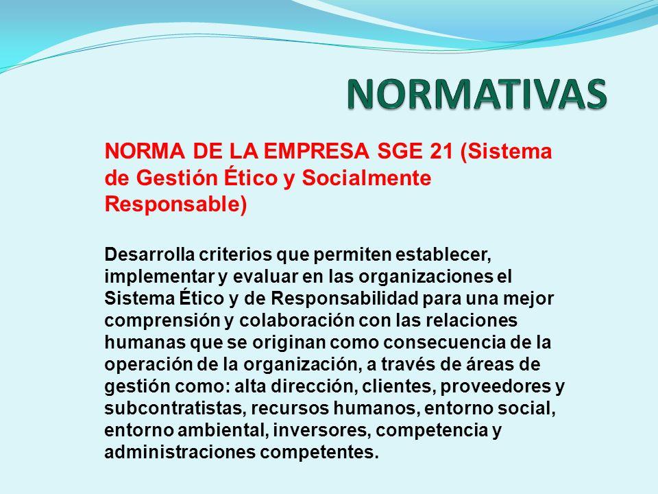 NORMA DE LA EMPRESA SGE 21 (Sistema de Gestión Ético y Socialmente Responsable) Desarrolla criterios que permiten establecer, implementar y evaluar en