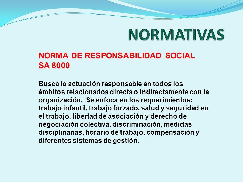 NORMA DE RESPONSABILIDAD SOCIAL SA 8000 Busca la actuación responsable en todos los ámbitos relacionados directa o indirectamente con la organización.