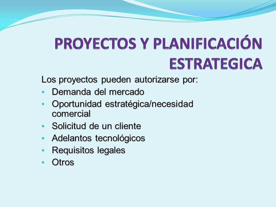 Los proyectos pueden autorizarse por: Demanda del mercado Demanda del mercado Oportunidad estratégica/necesidad comercial Oportunidad estratégica/nece