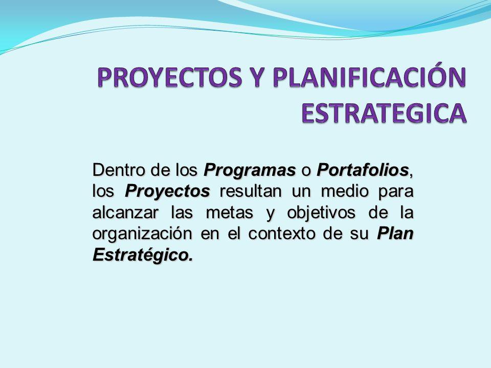Dentro de los Programas o Portafolios, los Proyectos resultan un medio para alcanzar las metas y objetivos de la organización en el contexto de su Pla