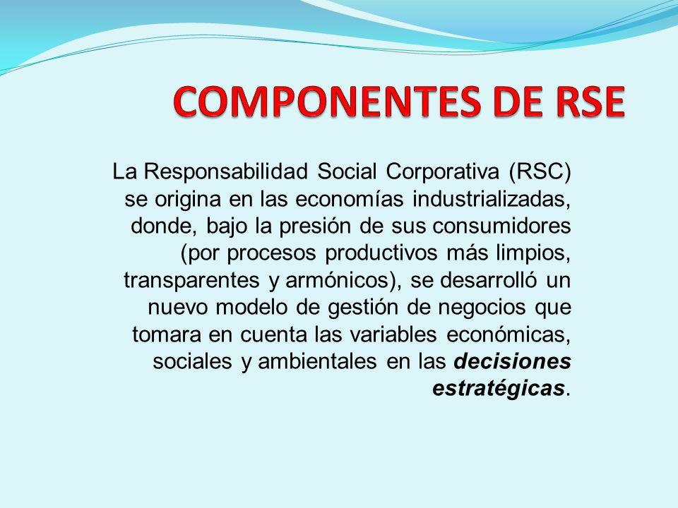 La Responsabilidad Social Corporativa (RSC) se origina en las economías industrializadas, donde, bajo la presión de sus consumidores (por procesos pro