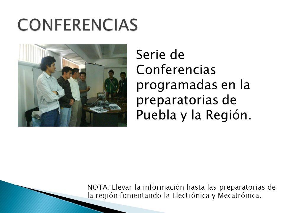 Serie de Conferencias programadas en la preparatorias de Puebla y la Región.
