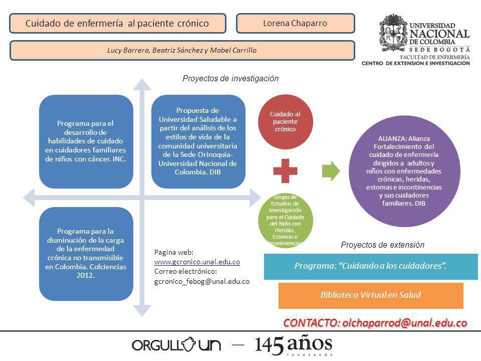 Cuidado de enfermería al paciente crónico Lorena Chaparro Lucy Barrera, Beatriz Sánchez y Mabel Carrillo Programa para el desarrollo de habilidades de