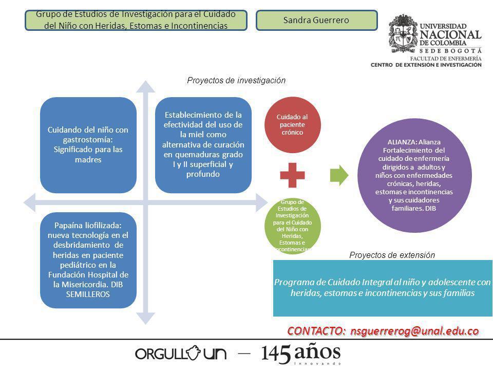Grupo de Estudios de Investigación para el Cuidado del Niño con Heridas, Estomas e Incontinencias Sandra Guerrero Cuidando del niño con gastrostomía:
