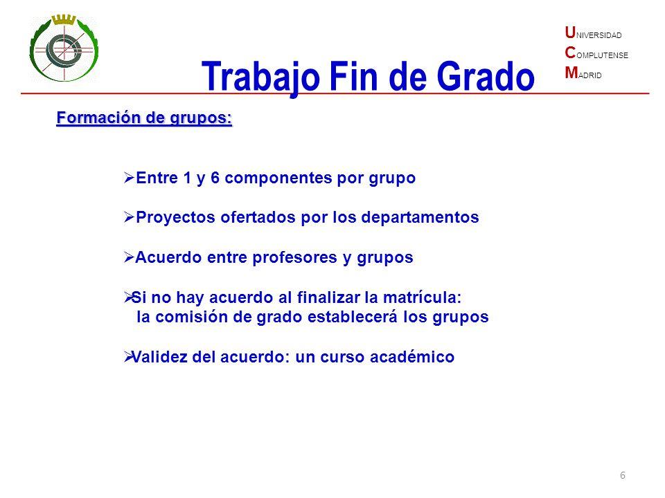 6 U NIVERSIDAD C OMPLUTENSE M ADRID Trabajo Fin de Grado Formación de grupos: Entre 1 y 6 componentes por grupo Proyectos ofertados por los departamen