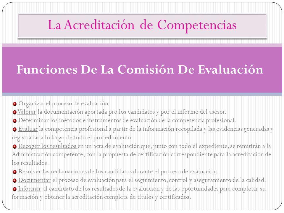 Funciones De La Comisión De Evaluación Organizar el proceso de evaluación. Valorar la documentación aportada pro los candidatos y por el informe del a