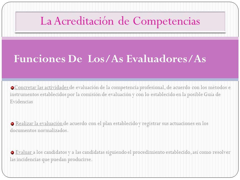 Funciones De Los/As Evaluadores/As Concretar las actividades de evaluación de la competencia profesional, de acuerdo con los métodos e instrumentos es