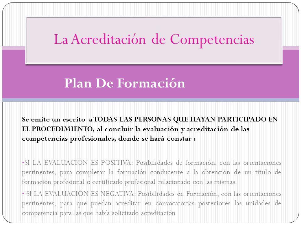 Se emite un escrito a TODAS LAS PERSONAS QUE HAYAN PARTICIPADO EN EL PROCEDIMIENTO, al concluir la evaluación y acreditación de las competencias profe