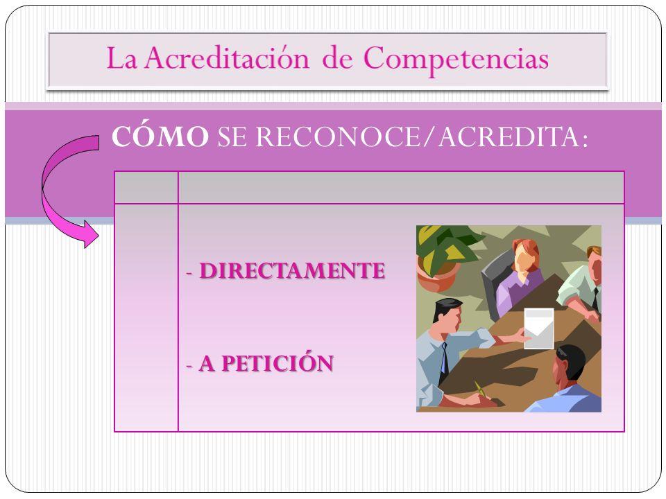 - DIRECTAMENTE - A PETICIÓN CÓMO SE RECONOCE/ACREDITA: