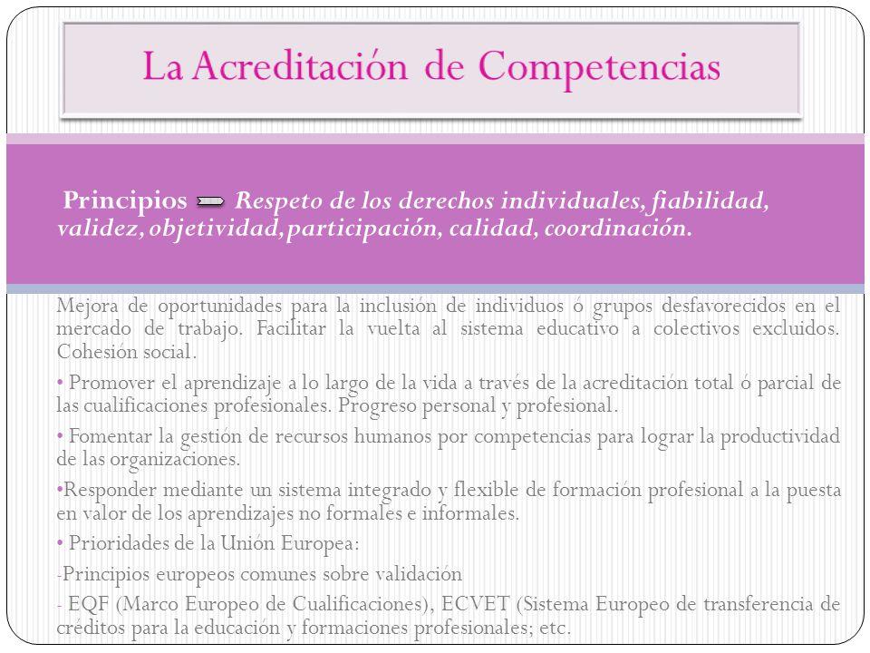 Principios Respeto de los derechos individuales, fiabilidad, validez, objetividad, participación, calidad, coordinación. Mejora de oportunidades para