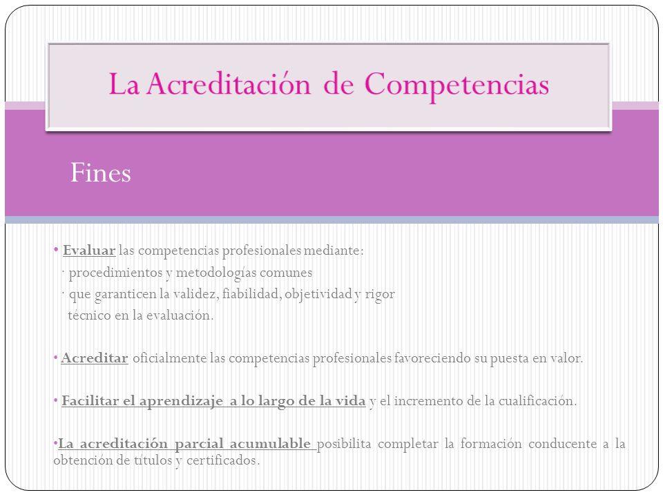 Fines Evaluar las competencias profesionales mediante: · procedimientos y metodologías comunes · que garanticen la validez, fiabilidad, objetividad y