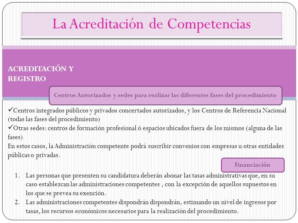 ACREDITACIÓN Y REGISTRO Centros Autorizados y sedes para realizar las diferentes fases del procedimiento Centros integrados públicos y privados concer