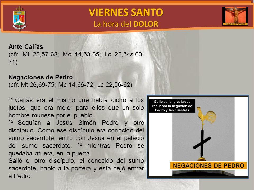 VIERNES SANTO La hora del DOLOR Ante Caifás (cfr.
