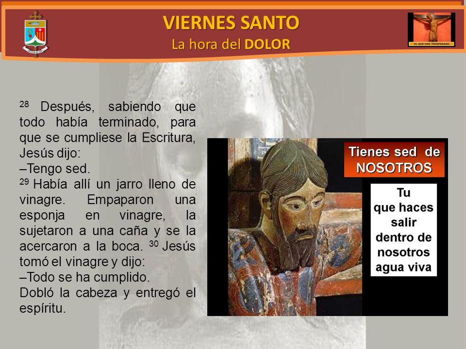 VIERNES SANTO La hora del DOLOR 28 Después, sabiendo que todo había terminado, para que se cumpliese la Escritura, Jesús dijo: –Tengo sed.