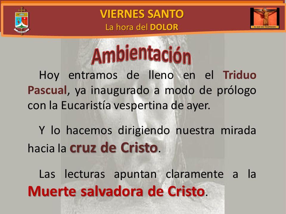 VIERNES SANTO La hora del DOLOR Hoy entramos de lleno en el Triduo Pascual, ya inaugurado a modo de prólogo con la Eucaristía vespertina de ayer.