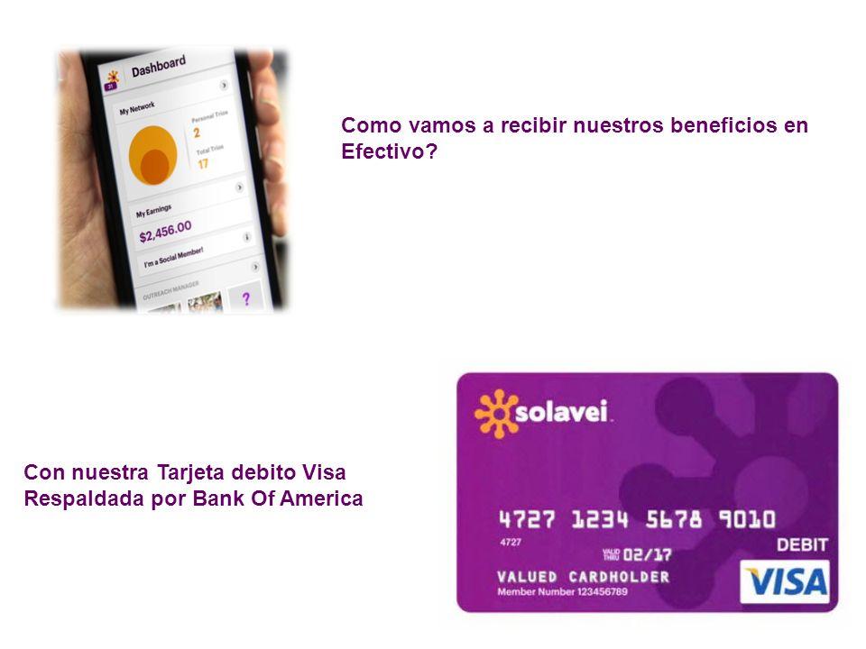 Como vamos a recibir nuestros beneficios en Efectivo? Con nuestra Tarjeta debito Visa Respaldada por Bank Of America