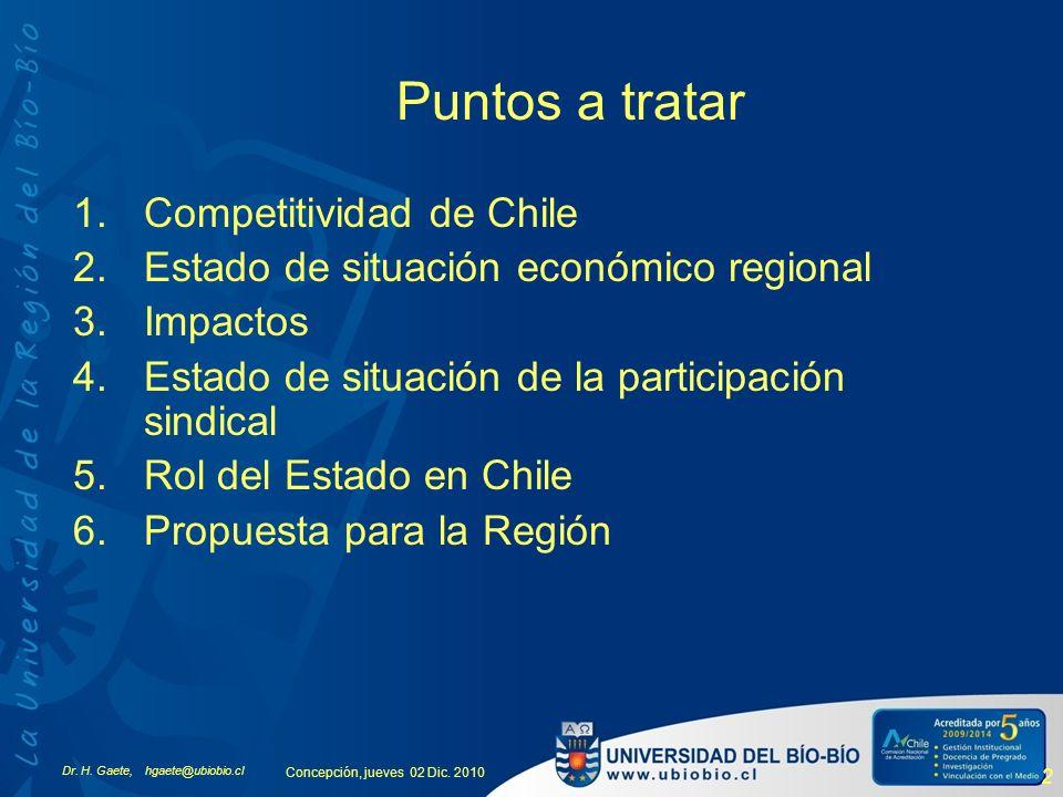 Dr. H. Gaete, hgaete@ubiobio.cl Concepción, jueves 02 Dic. 2010 2 1.Competitividad de Chile 2.Estado de situación económico regional 3.Impactos 4.Esta