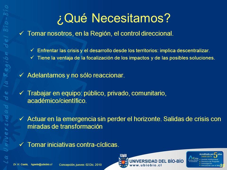 Dr. H. Gaete, hgaete@ubiobio.cl Concepción, jueves 02 Dic. 2010 38 ¿Qué Necesitamos? Tomar nosotros, en la Región, el control direccional. Enfrentar l