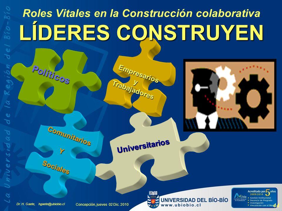 Dr. H. Gaete, hgaete@ubiobio.cl Concepción, jueves 02 Dic. 2010 44 Empresarios yTrabajadores Universitarios Comunitarios YSociales Políticos LÍDERES C