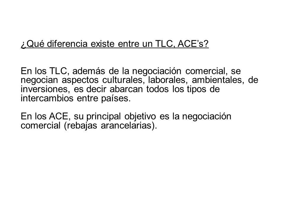 ¿Qué diferencia existe entre un TLC, ACEs? En los TLC, además de la negociación comercial, se negocian aspectos culturales, laborales, ambientales, de