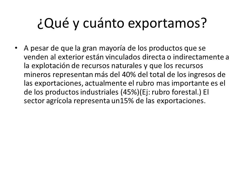 ¿Qué y cuánto exportamos? A pesar de que la gran mayoría de los productos que se venden al exterior están vinculados directa o indirectamente a la exp