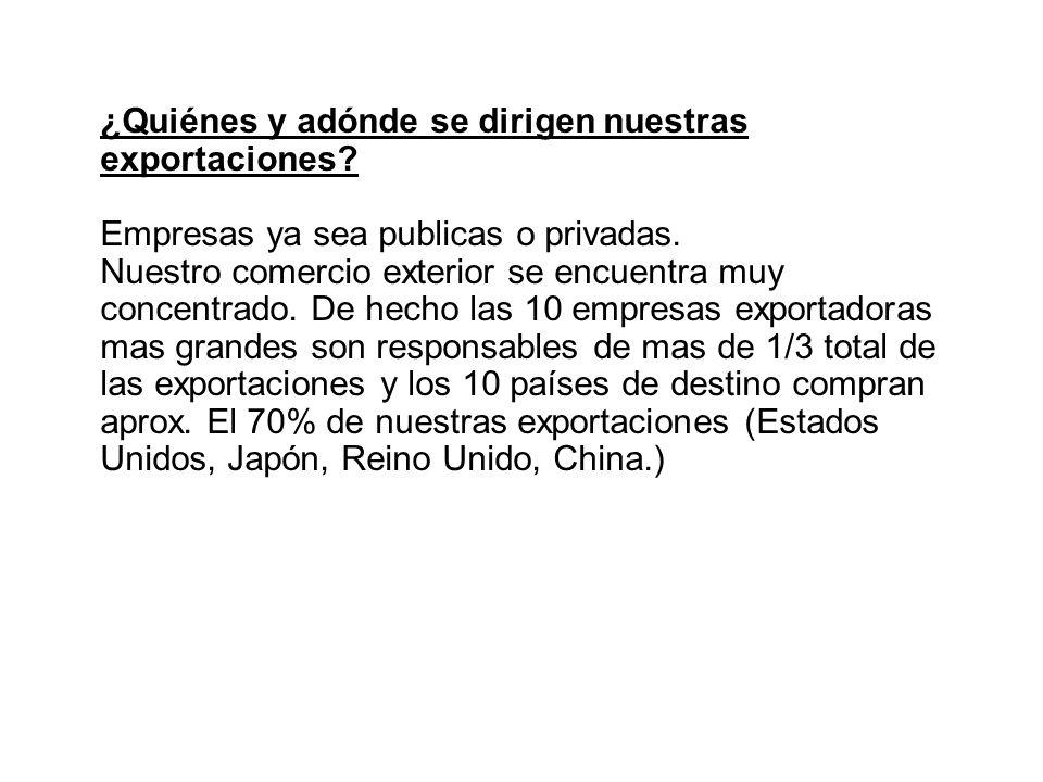 ¿Quiénes y adónde se dirigen nuestras exportaciones? Empresas ya sea publicas o privadas. Nuestro comercio exterior se encuentra muy concentrado. De h