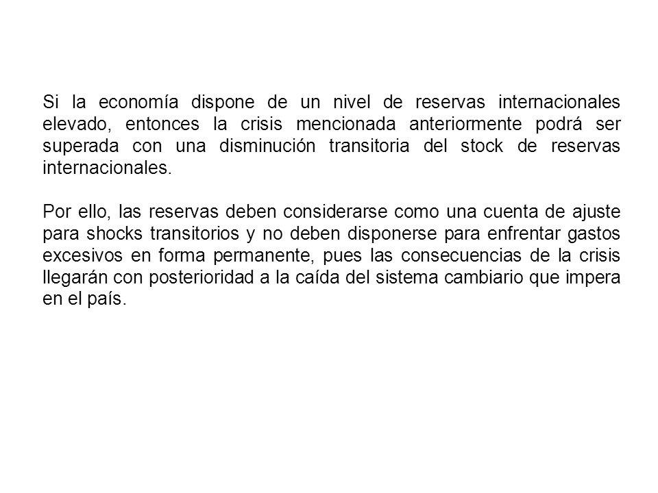 Si la economía dispone de un nivel de reservas internacionales elevado, entonces la crisis mencionada anteriormente podrá ser superada con una disminu