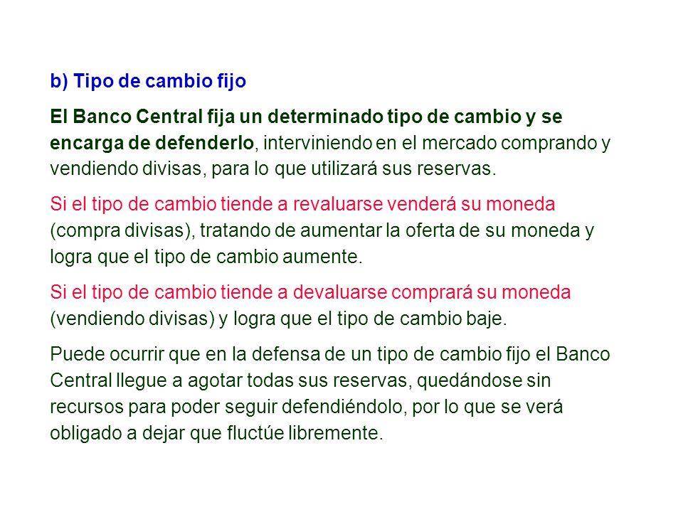 b) Tipo de cambio fijo El Banco Central fija un determinado tipo de cambio y se encarga de defenderlo, interviniendo en el mercado comprando y vendien