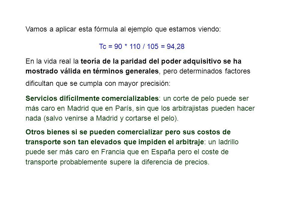 Vamos a aplicar esta fórmula al ejemplo que estamos viendo: Tc = 90 * 110 / 105 = 94,28 En la vida real la teoría de la paridad del poder adquisitivo