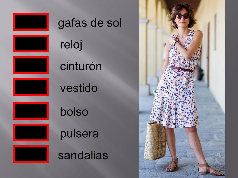 gafas de sol reloj cinturón bolso pulsera vestido sandalias