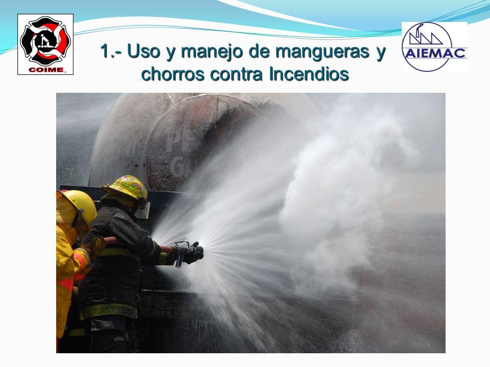 1.- Uso y manejo de mangueras y chorros contra Incendios chorros contra Incendios