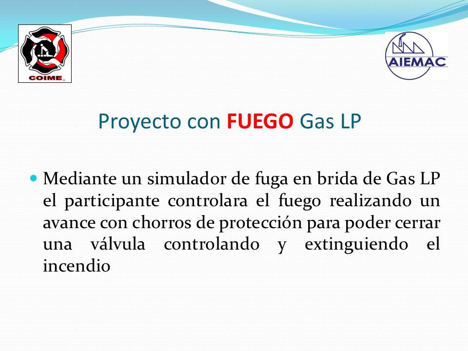 Mediante un simulador de fuga en brida de Gas LP el participante controlara el fuego realizando un avance con chorros de protección para poder cerrar