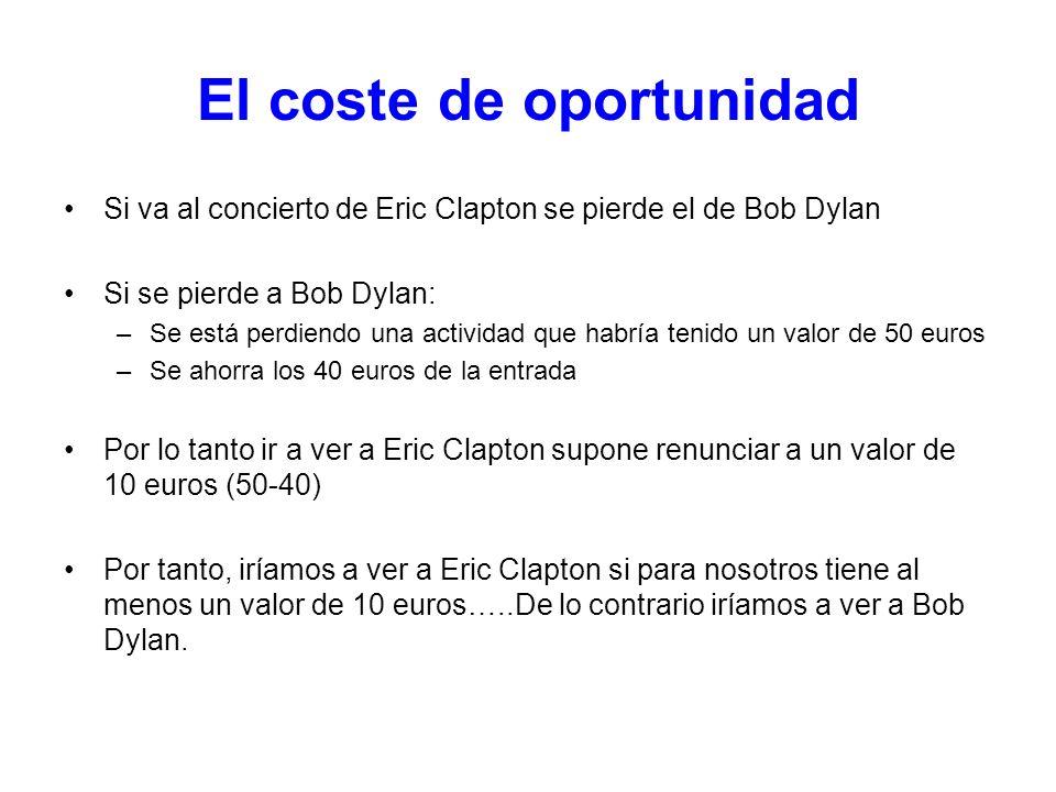 El coste de oportunidad Si va al concierto de Eric Clapton se pierde el de Bob Dylan Si se pierde a Bob Dylan: –Se está perdiendo una actividad que ha