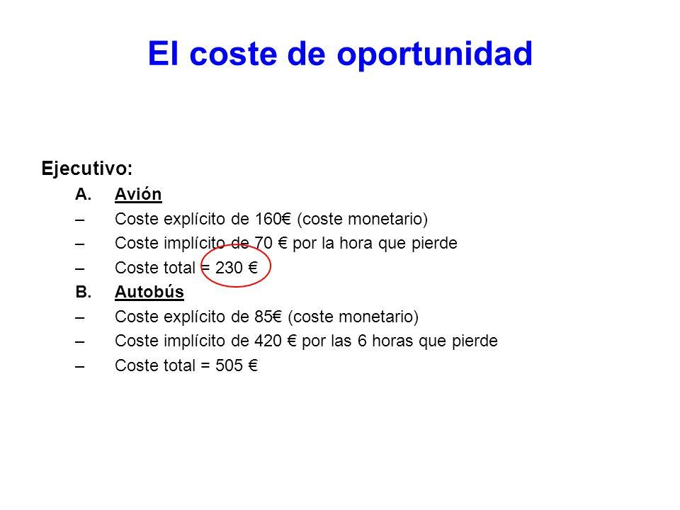 El coste de oportunidad Ejecutivo: A.Avión –Coste explícito de 160 (coste monetario) –Coste implícito de 70 por la hora que pierde –Coste total = 230