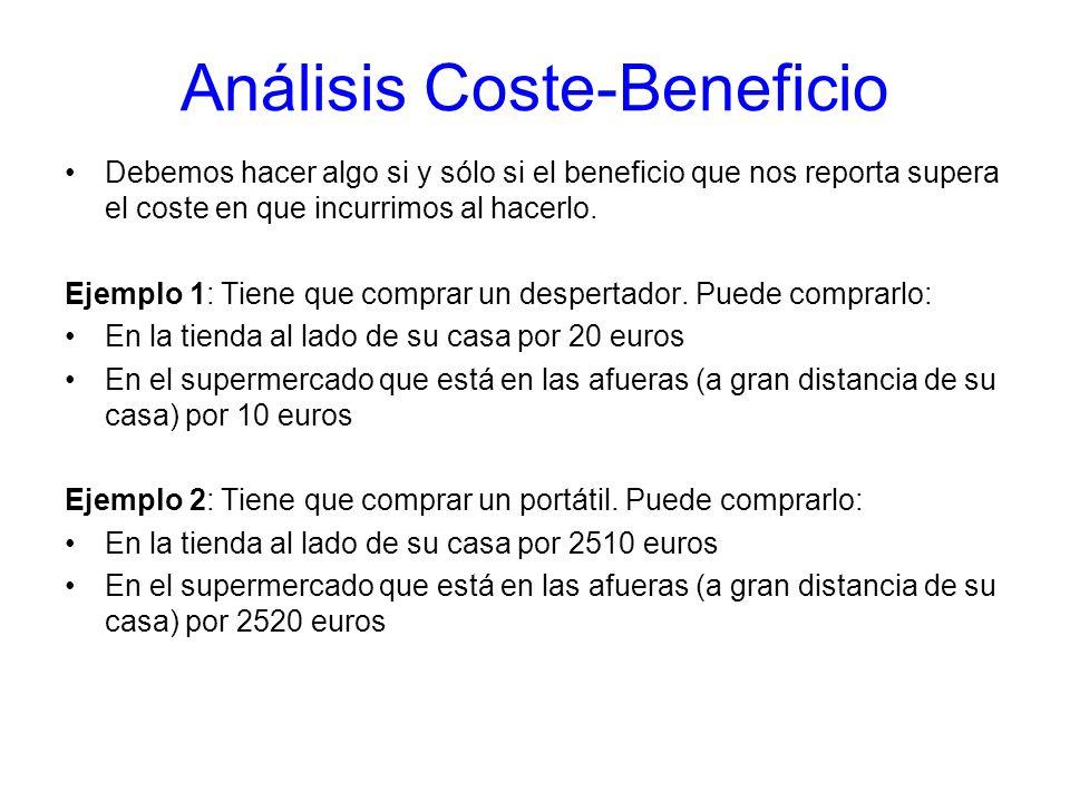 Análisis Coste-Beneficio Debemos hacer algo si y sólo si el beneficio que nos reporta supera el coste en que incurrimos al hacerlo. Ejemplo 1: Tiene q