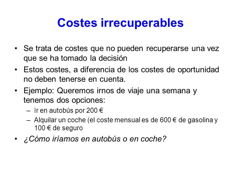 Costes irrecuperables Se trata de costes que no pueden recuperarse una vez que se ha tomado la decisión Estos costes, a diferencia de los costes de op