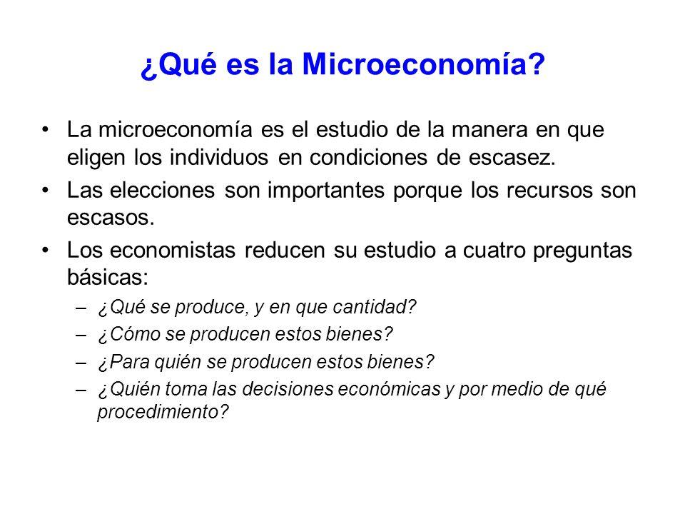 ¿Qué es la Microeconomía? La microeconomía es el estudio de la manera en que eligen los individuos en condiciones de escasez. Las elecciones son impor