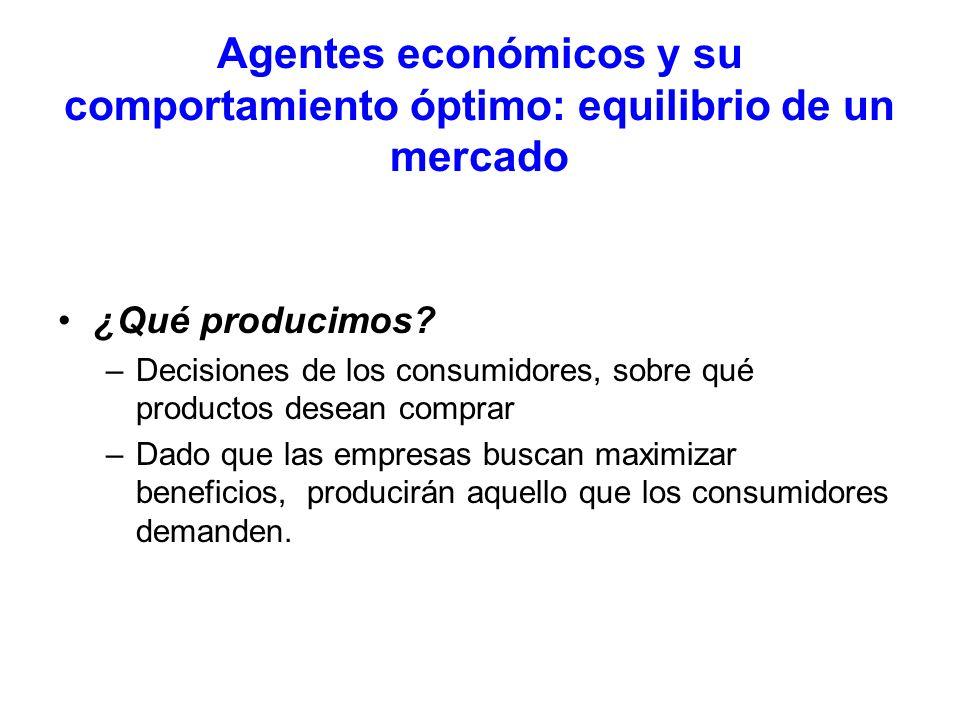 Agentes económicos y su comportamiento óptimo: equilibrio de un mercado ¿Qué producimos? –Decisiones de los consumidores, sobre qué productos desean c