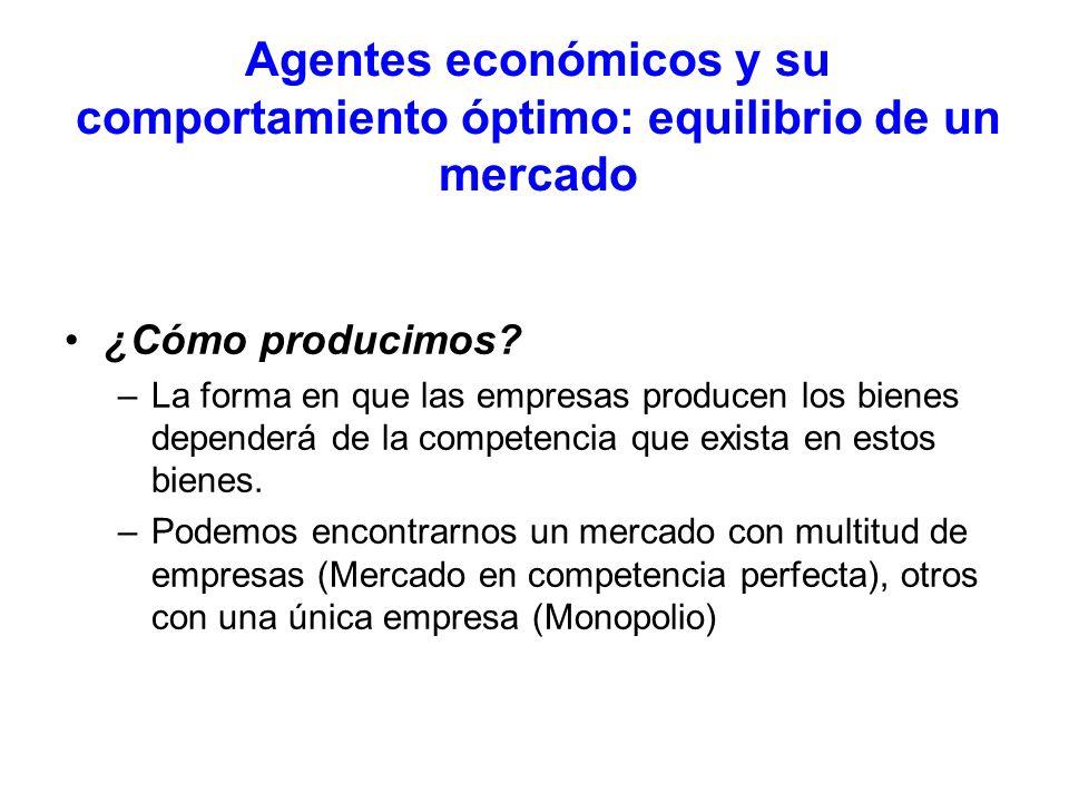 Agentes económicos y su comportamiento óptimo: equilibrio de un mercado ¿Cómo producimos? –La forma en que las empresas producen los bienes dependerá