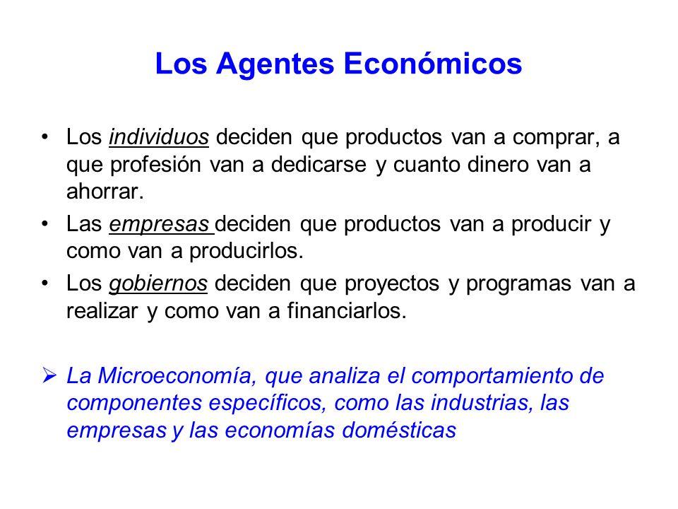 Los Agentes Económicos Los individuos deciden que productos van a comprar, a que profesión van a dedicarse y cuanto dinero van a ahorrar. Las empresas