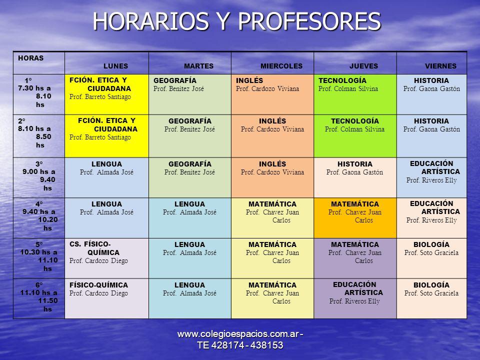 www.colegioespacios.com.ar - TE 428174 - 438153 HORARIOS Y PROFESORES HORAS LUNES MARTES MIERCOLES JUEVES VIERNES 1º 7.30 hs a 8.10 hs FCIÓN. ETICA Y