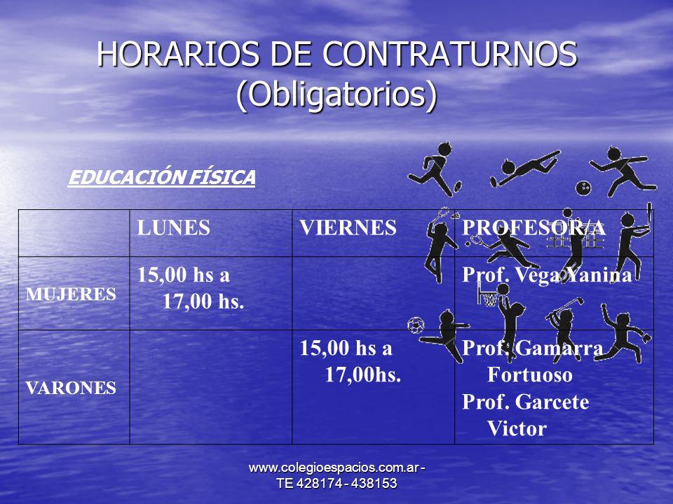 www.colegioespacios.com.ar - TE 428174 - 438153 HORARIOS DE CONTRATURNOS (Obligatorios) EDUCACIÓN FÍSICA LUNESVIERNESPROFESOR/A MUJERES 15,00 hs a 17,