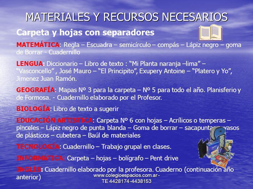 www.colegioespacios.com.ar - TE 4428174 -4438153 MATERIALES Y RECURSOS NECESARIOS Carpeta y hojas con separadores MATEMÁTICA: Regla – Escuadra – semic