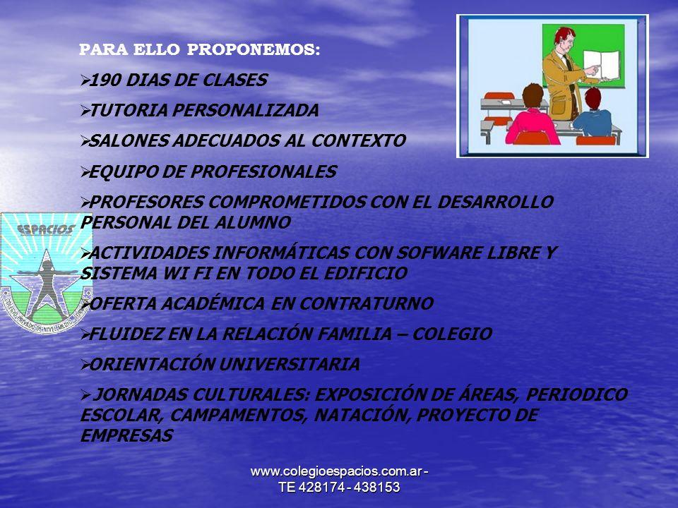 www.colegioespacios.com.ar - TE 428174 - 438153 PARA ELLO PROPONEMOS: 190 DIAS DE CLASES TUTORIA PERSONALIZADA SALONES ADECUADOS AL CONTEXTO EQUIPO DE