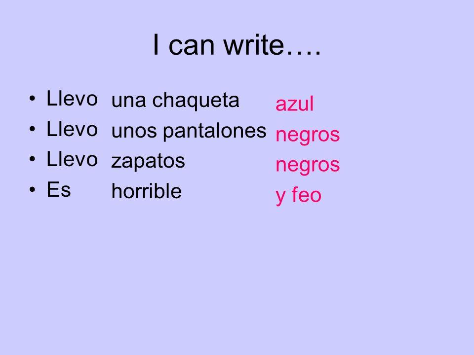 I can write…. Llevo Es una chaqueta unos pantalones zapatos horrible azul negros y feo