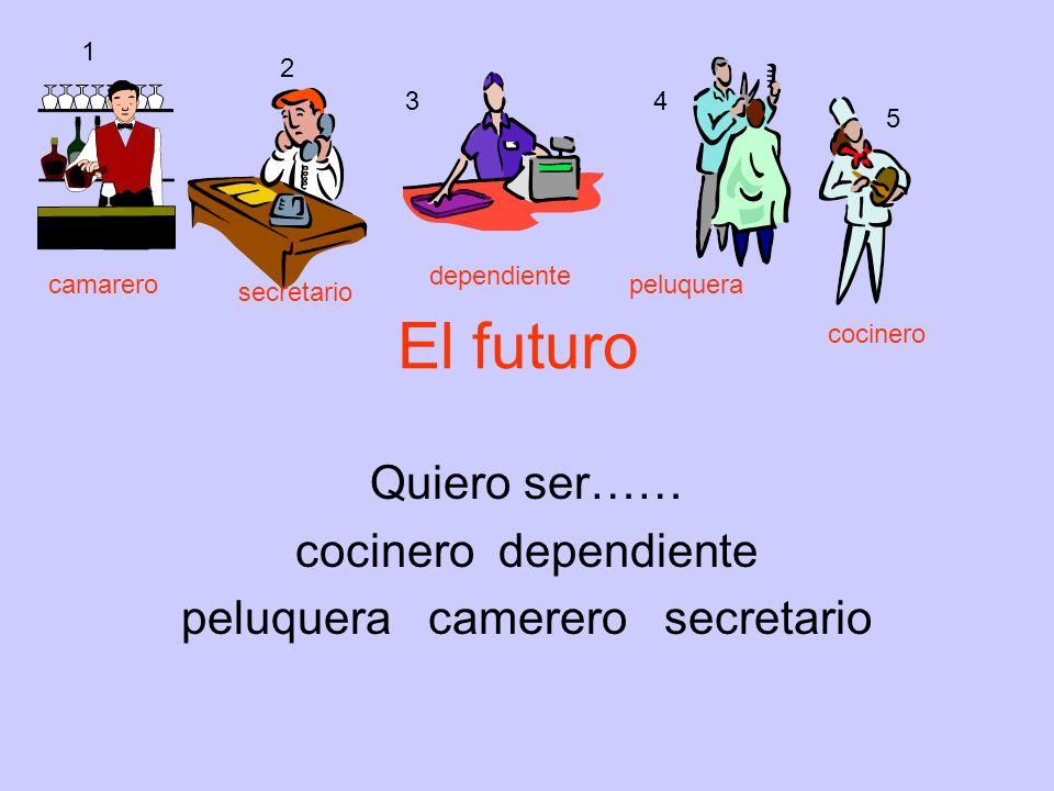 El futuro Quiero ser…… cocinero dependiente peluquera camerero secretario 1 2 34 5 camarero secretario dependiente peluquera cocinero