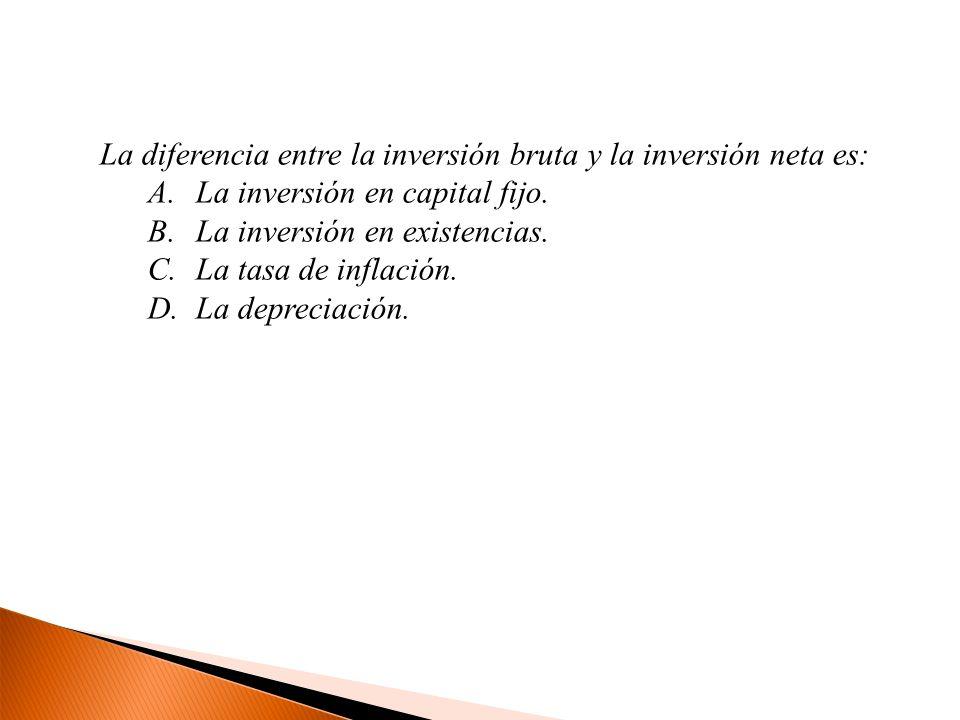 La diferencia entre la inversión bruta y la inversión neta es: A.La inversión en capital fijo. B.La inversión en existencias. C.La tasa de inflación.
