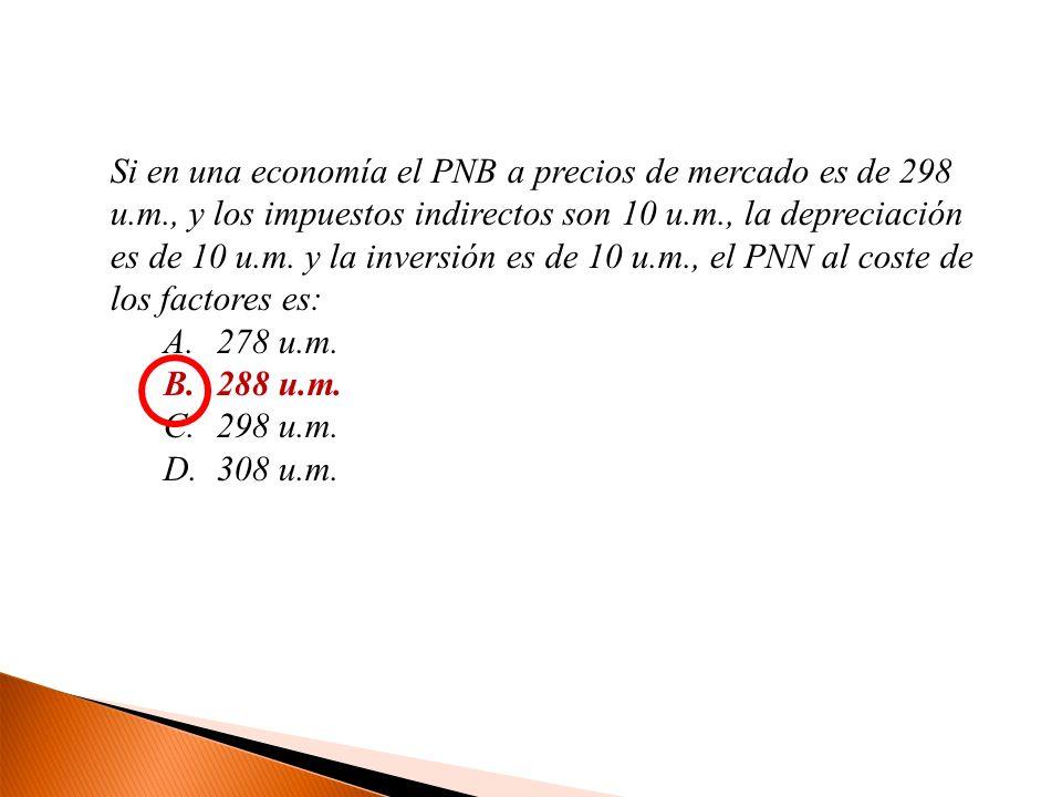 Si en una economía el PNB a precios de mercado es de 298 u.m., y los impuestos indirectos son 10 u.m., la depreciación es de 10 u.m. y la inversión es