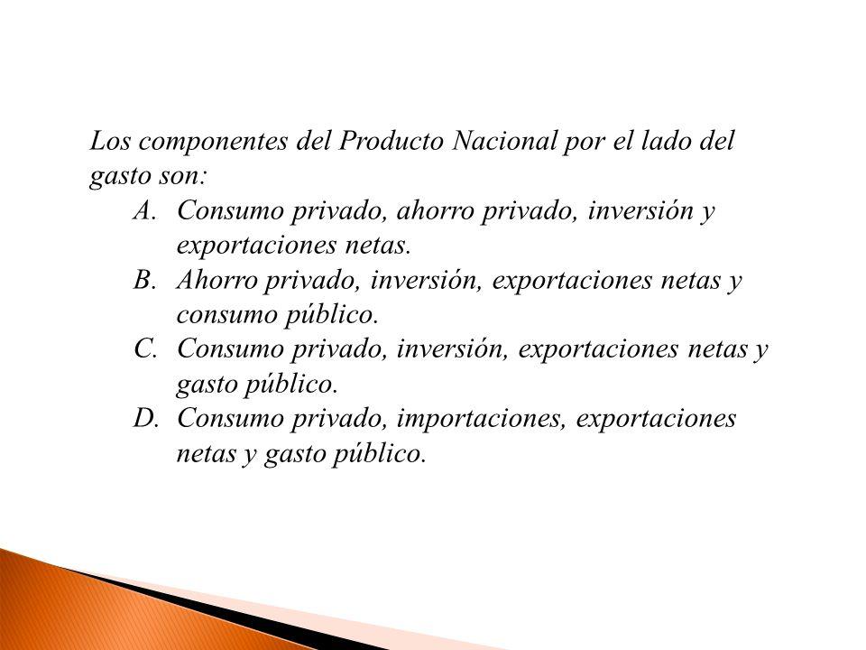 Los componentes del Producto Nacional por el lado del gasto son: A.Consumo privado, ahorro privado, inversión y exportaciones netas. B.Ahorro privado,
