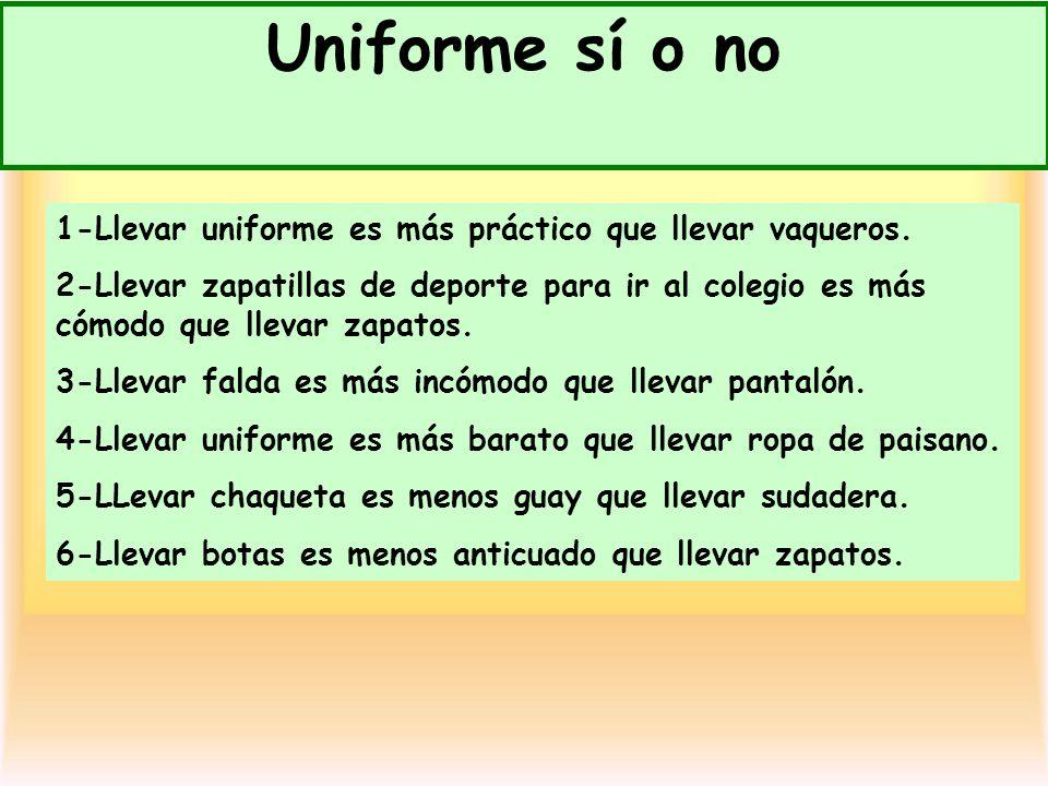 Uniforme sí o no 1-Llevar uniforme es más práctico que llevar vaqueros. 2-Llevar zapatillas de deporte para ir al colegio es más cómodo que llevar zap